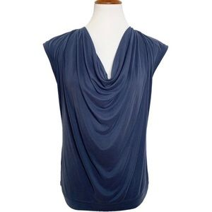 NWT BCBGMaxAzria Blue Draped Cowl Neck Blouse